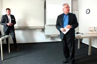 Jörg Fleischer (l.) und Moderator Michael Taube (r.)